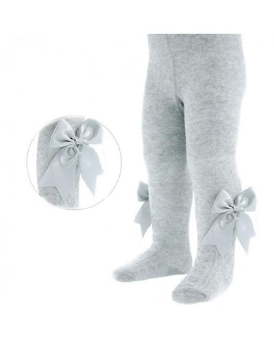 Soft Touch Grey Bow Tights-Tights-Children-Clothing-Cutsie Bobbs