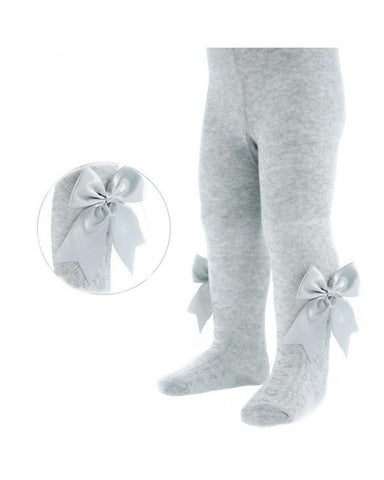 Soft Touch Grey Bow Tights-Tights-Cutsie Bobbs