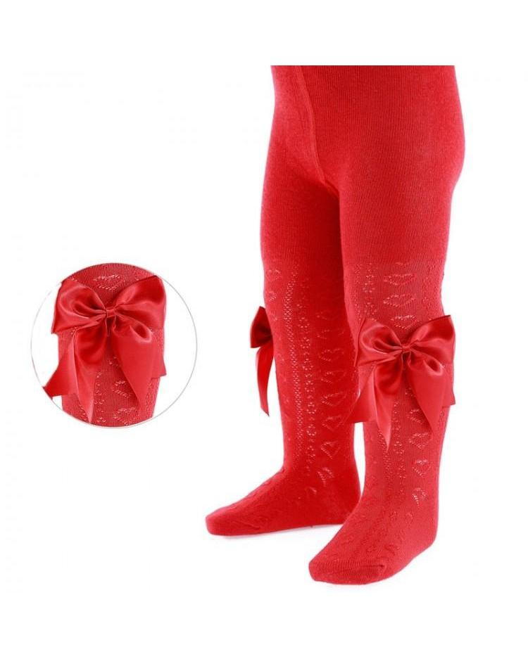 Soft Touch Red Bow Tights-Tights-Cutsie Bobbs