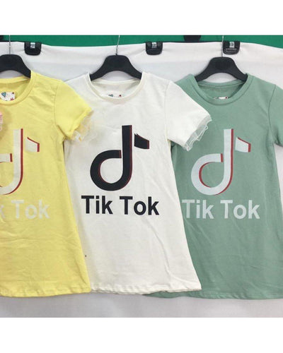 Tik Tok T-Shirt Dress-Tik Tok-Children-Clothing-Cutsie Bobbs