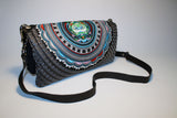 Silver Stamp BOH embroidered leather handbag fold over clutch back
