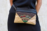 Bag Of Hope BOH gold sequin embroidered waist bag shoulder bag close up model