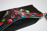 Bag Of Hope mini BOH multicolour embroidered pouch purse waist bag close up inside zip detail