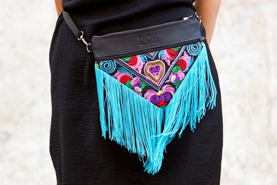 Bag Of Hope BOH blue tassel multicolour embroidered waist bag leather shoulder bag close up