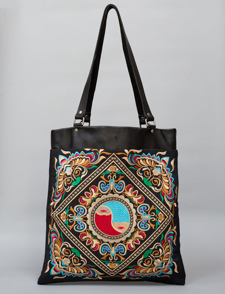 Flying Bee BOH Shopper embroidered leather tote bag front