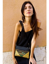 Bag Of Hope BOH gold sequin embroidered waist bag shoulder bag on model