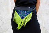 Bag Of Hope BOH green tassel blue embroidered waist bag leather shoulder bag close up