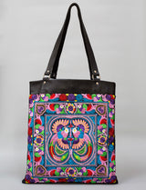 Multi Birds BOH Embroidered Leather Shopper tote handbag front