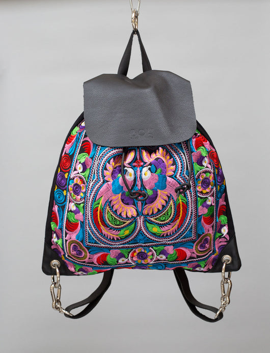 BOH Multi birds embroidered leather backpack rucksack handbag front