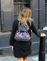 BOH Multi birds embroidered leather backpack rucksack handbag on model
