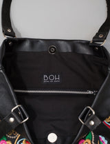 Bag Of Hope BOH Snake Swirl Embroidered leather shopper tote handbag  inside
