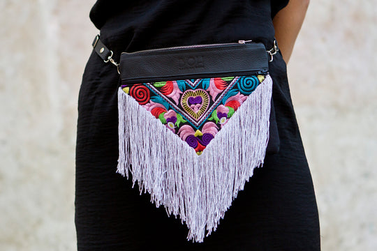 Bag Of Hope BOH silver tassel multicolour embroidered waist bag leather shoulder bag close up