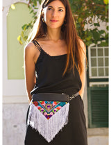 Bag Of Hope BOH silver tassel multicolour embroidered waist bag leather shoulder bag on model