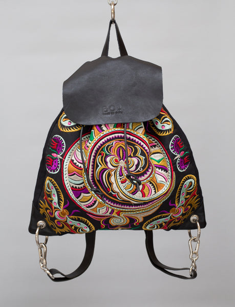 Snake Swirl BOH embroidered leather backpack handbag front