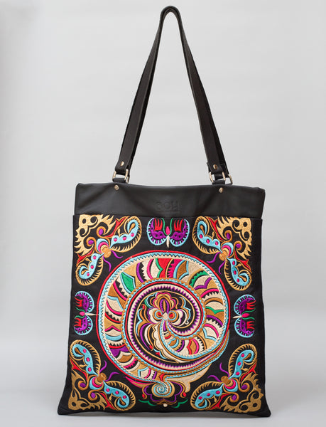 Bag Of Hope BOH Snake Swirl Embroidered leather shopper tote handbag front