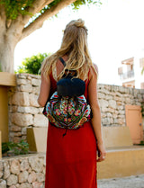 Square Flower BOH embroidered leather backpack everyday handbag on model