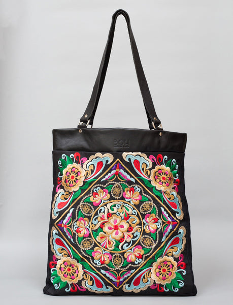 Bags Of Hope BOH Square flower embroidered leather shopper tote bag front