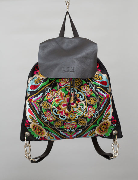 Square Flower BOH embroidered leather backpack everyday handbag front