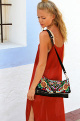 BOH square flower handbag fold over clutch on model