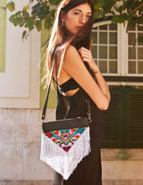 Bag Of Hope BOH silver tassel multicolour embroidered waist bag leather shoulder bag view