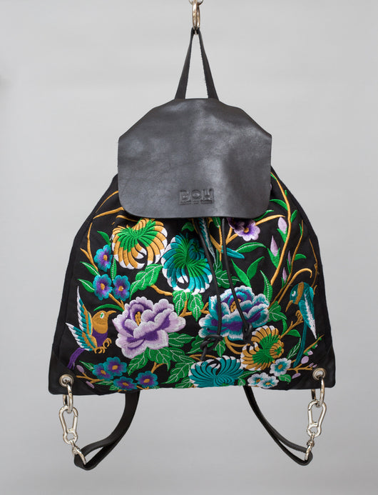 Wild Garden BOH embroidered leather backpack everyday handbag front