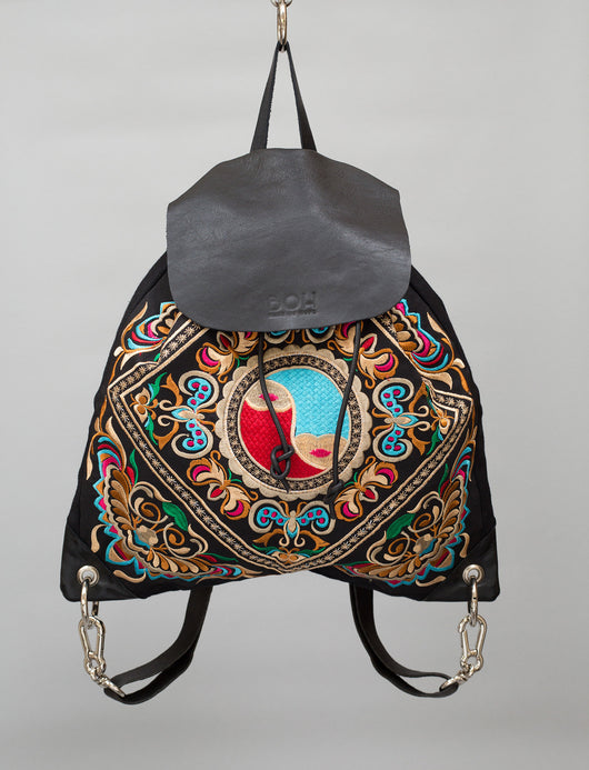 Bag of Hope BOH fair trade embroidered leather backpack