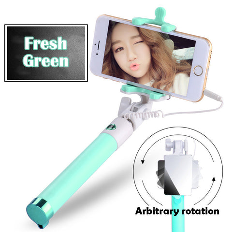 Mirror Extendable Selfie Stick + 3in1 180 Degree Fish Eye/0.67X Wide/Macro Phone Lens Kit