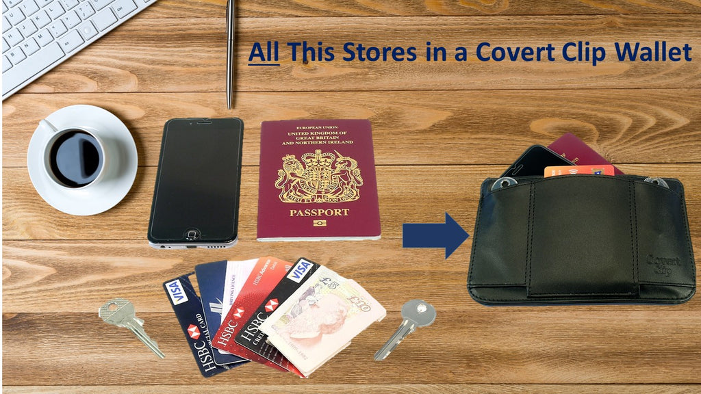 phone passport bank cards cash ID two keys stored in Covert Clip wallet