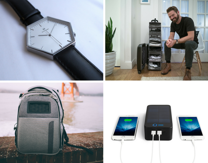 Hex watch, Carry-On Closet, Lifepack backpack, solar Bluetooth speaker