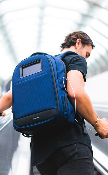 Premium, travel backpack with solar charger for global citizens