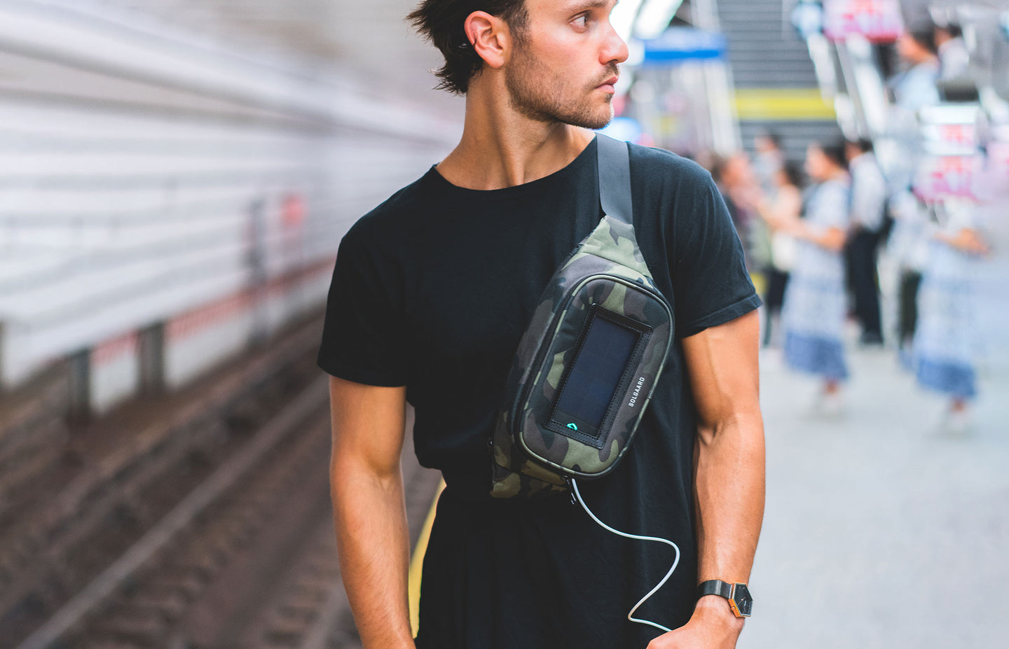Premium, travel fanny pack with solar charger for global citizens