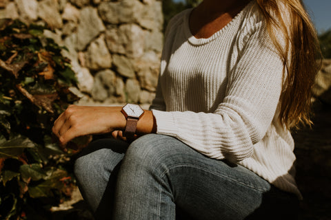 Woman wearing Hex brand watch