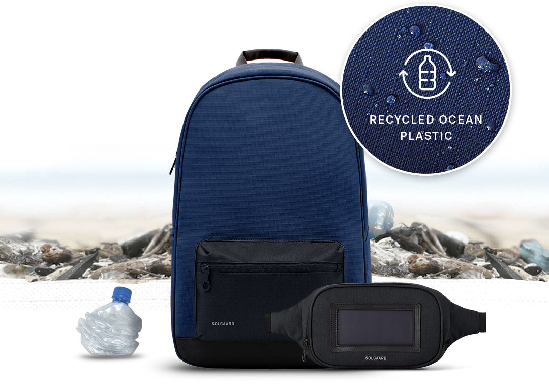solgaard daypack sustainable backpack in blue made completely from ocean bound plastic
