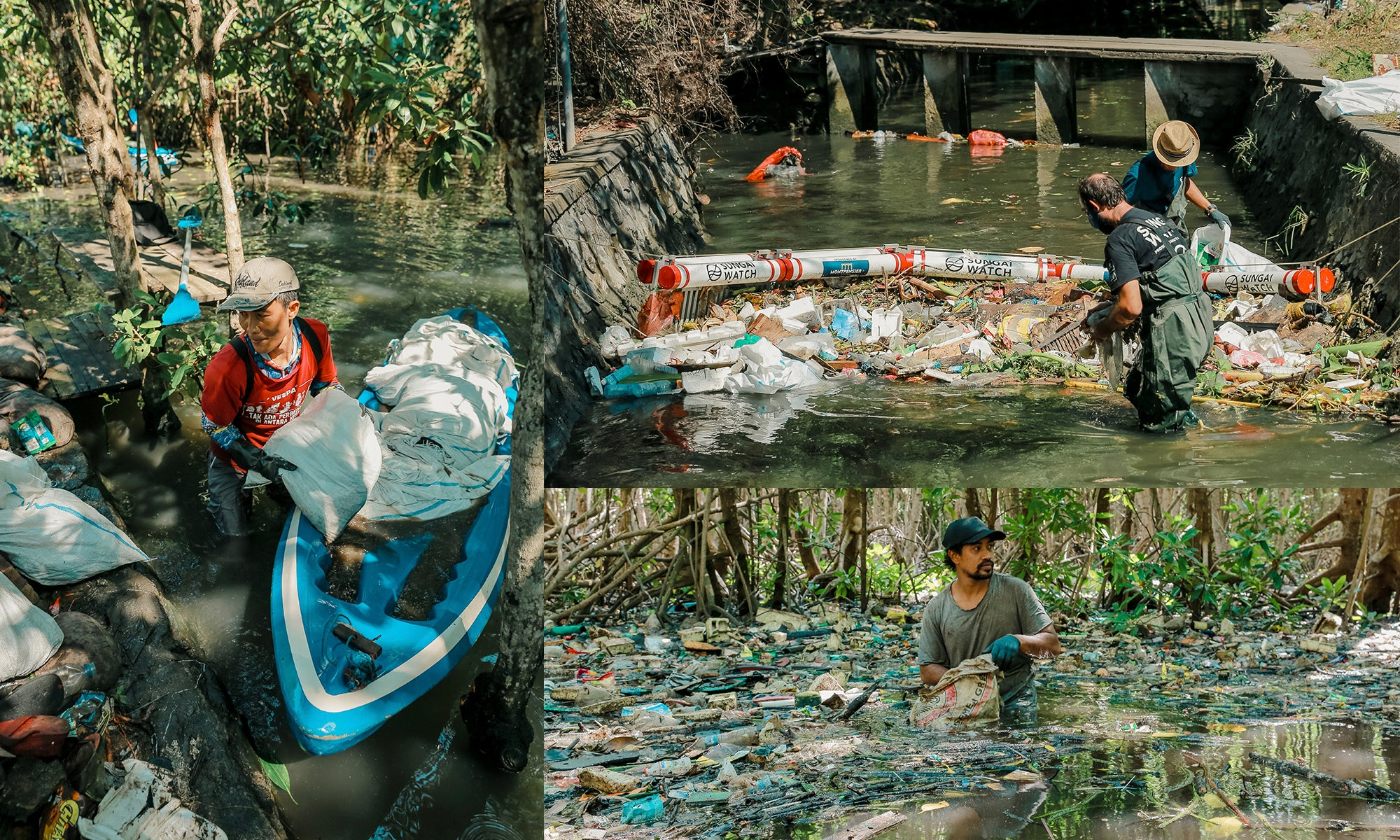 Bali plastic cleanup collage image