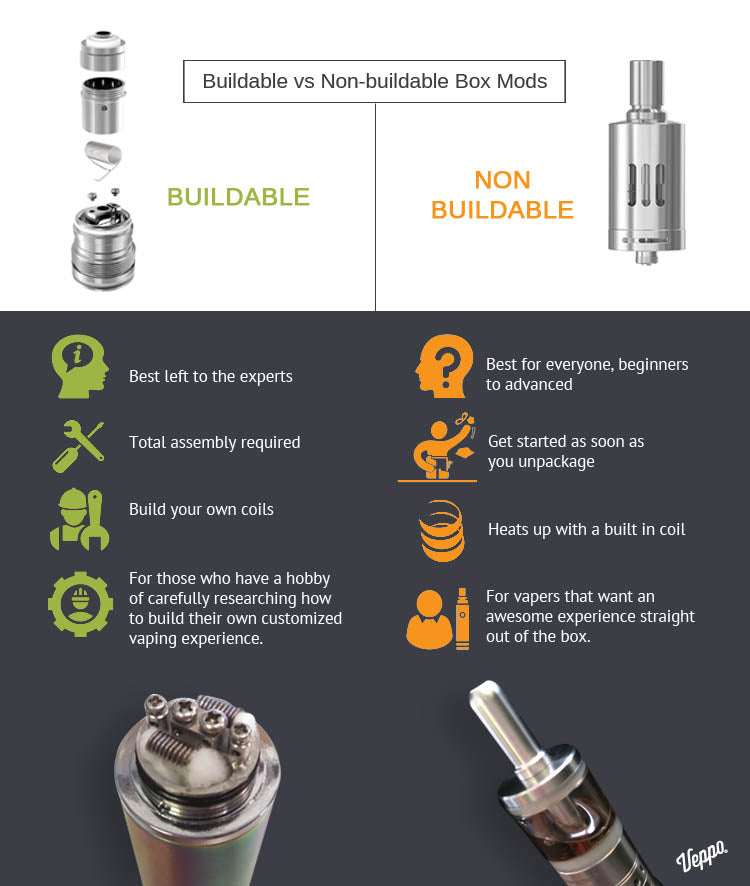 buildable vs nonbuildable box mod vaporizers