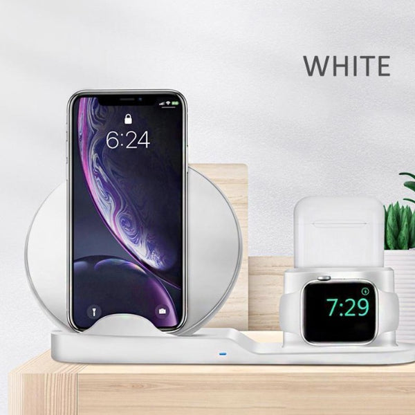3 in 1 Qi Fast Wireless Charging Stand for iPhone AirPods Apple Watch Charge Dock Station Wireless Charger Stand for iPhone 8 X XS Max XR Apple Watch 4 3 2 1 Airpods 10W Quick Charge For Samsung S9 S8 S7 Fast Chargeur Quick Charge By Sooknewlook