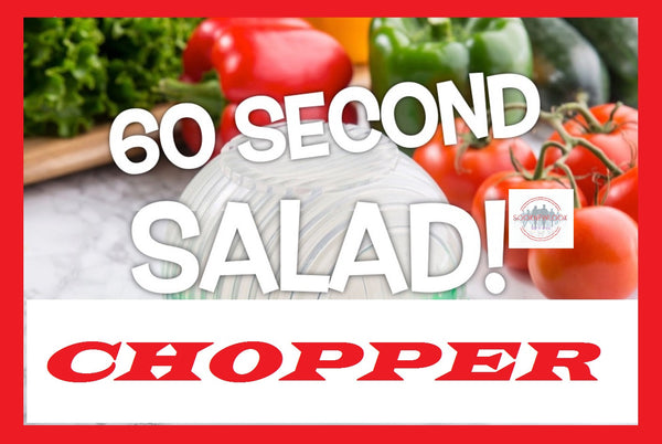 60 second salad with this Fruit & Vegetable Tool, easily rinse, chop and serve almost any salad in seconds
