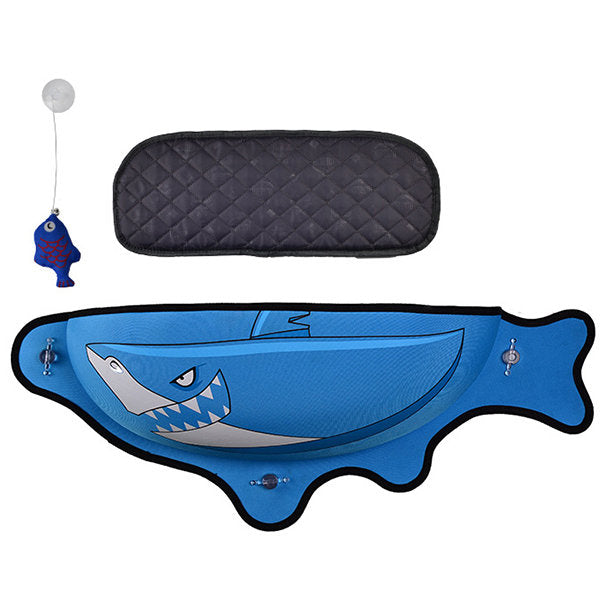 Fish Shaped Cat Hammock bed mount window blue Pod Lounger Suction Cups Warm Bed For Pet Cat Rest House Soft And Comfortable comfy Ferret Cage cat toy cat mat by sooknewlook