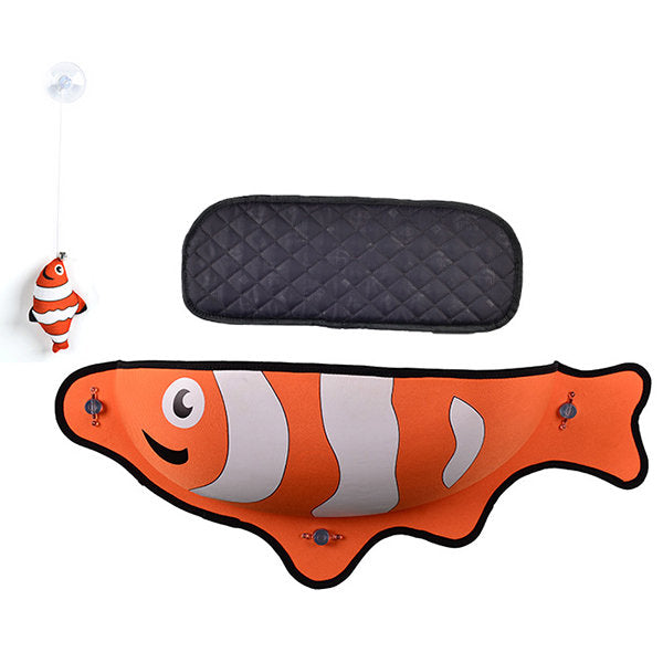 Fish Shaped Cat Hammock bed mount window orange Pod Lounger Suction Cups Warm Bed For Pet Cat Rest House Soft And Comfortable comfy Ferret Cage cat toy cat mat by sooknewlook