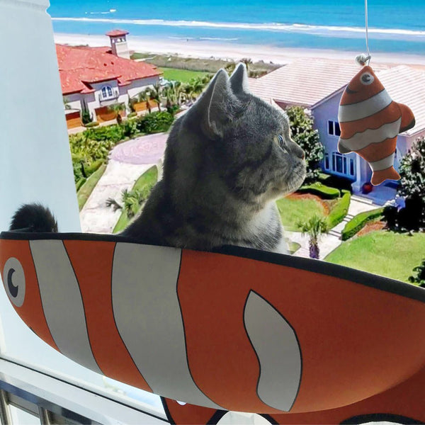 Fish Shaped Cat Hammock bed mount window orange Pod Lounger Suction Cups Warm Bed For Pet Cat Rest House Soft And Comfortable comfy Ferret Cage by sooknewlook