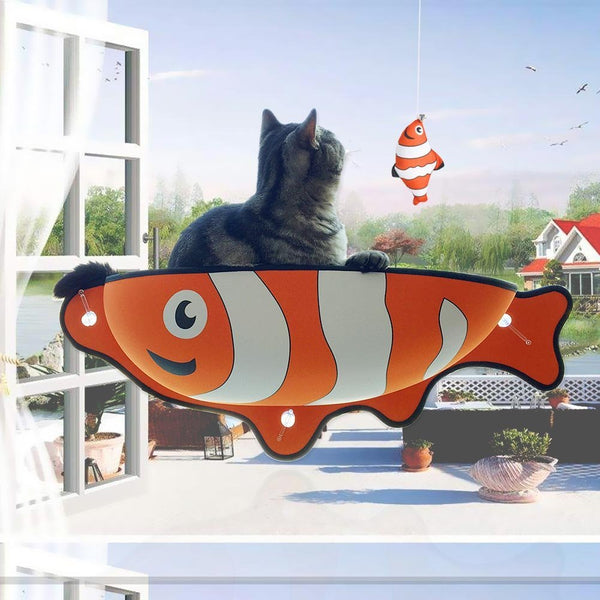 Fish Shaped Cat Hammock bed mount window Pod Lounger Suction Cups Warm Bed For Pet Cat Rest House Soft And Comfortable comfy Ferret Cage by sooknewlook