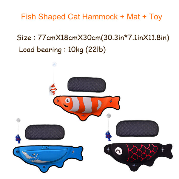 Fish Shaped Cat Hammock bed mount window colors orange blue black size Pod Lounger Suction Cups Warm Bed For Pet Cat Rest House Soft And Comfortable comfy Ferret Cage by sooknewlook