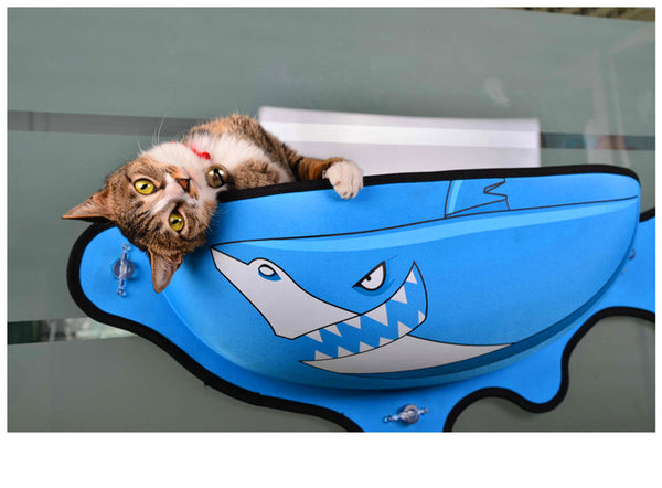 Fish Shaped Cat Hammock bed mount window blue Pod Lounger Suction Cups Warm Bed For Pet Cat Rest House Soft And Comfortable comfy Ferret Cage by sooknewlook