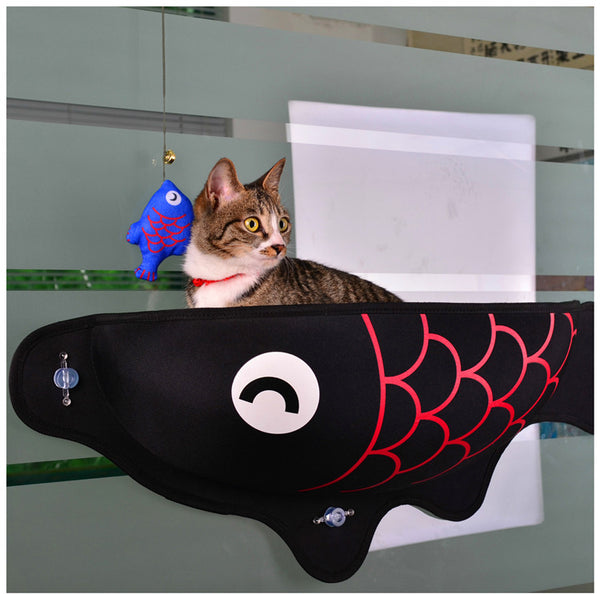 Fish Shaped Cat Hammock bed mount window black Pod Lounger Suction Cups Warm Bed For Pet Cat Rest House Soft And Comfortable comfy Ferret Cage by sooknewlook