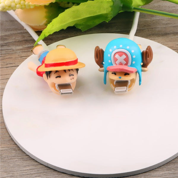 One Piece Cable Bite Protector for iPhone doll cartoon organizer winder chompers charger wire holder cord prevents breakage protector usb charging cute lightning cable protect-protective sleeves-Monkey D. Luffy Zoro Tony-Tony Chopper by sooknewlook