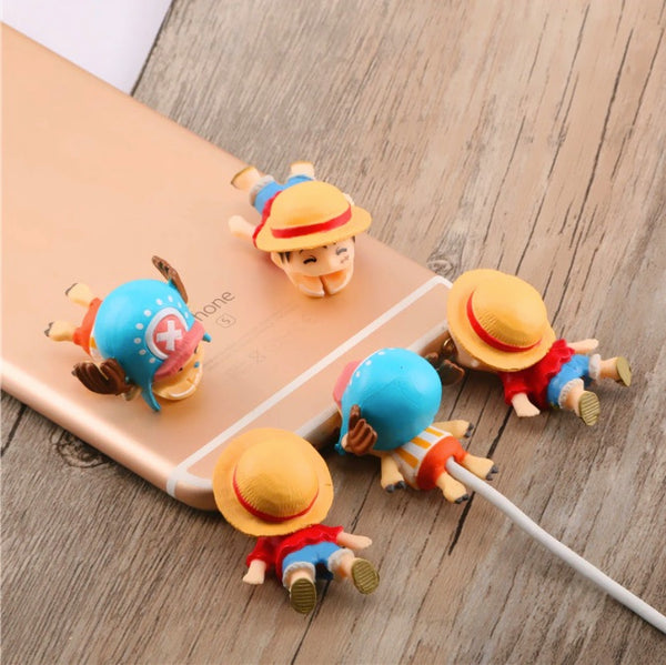 One Piece Cable Bite Protector for iPhone doll cartoon organizer winder chompers charger wire holder cord prevents breakage protector usb charging cute lightning cable protect-protective sleeves Monkey D. Luffy Zoro Tony-Tony Chopper by sooknewlook
