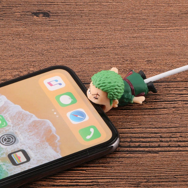 One Piece Cable Bite Protector for iPhone doll cartoon organizer winder chompers charger wire holder cord prevents breakage protector usb charging cute lightning cable protect-protective sleeves Roronoa Zoro by sooknewlook