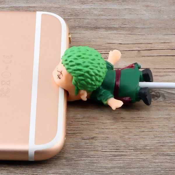 One Piece Cable Bite Protector for iPhone doll cartoon organizer winder chompers charger wire holder cord prevents breakage protector usb charging cute lightning cable protect and protective sleeves one piece characters Roronoa Zoro by sooknewlook