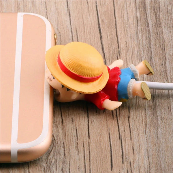 One Piece Cable Bite Protector for iPhone doll cartoon organizer winder chompers charger wire holder cord prevents breakage protector usb charging cute lightning cable protect and protective sleeves one piece characters Monkey D. Luffy by sooknewlook