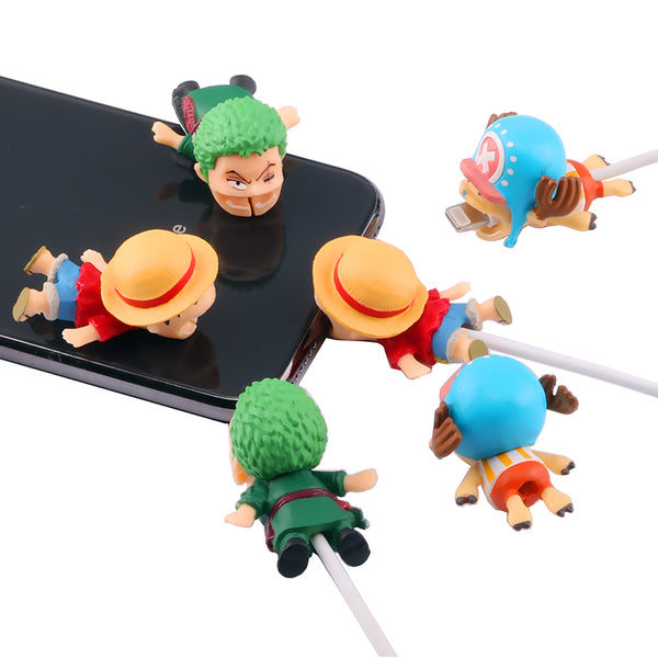 One Piece Cable Bite Protector for iPhone doll cartoon organizer winder chompers charger wire holder cord prevents breakage protector usb charging cute lightning cable protect protective sleeves Monkey D. Luffy Zoro Tony-Tony Chopper by sooknewlook
